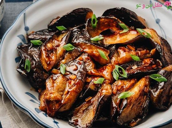 خوراک مرغ و بادمجان رژیمی
