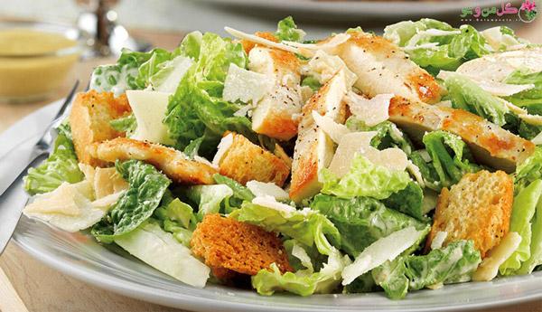 سالاد سزار - غذای رژیمی با مرغ